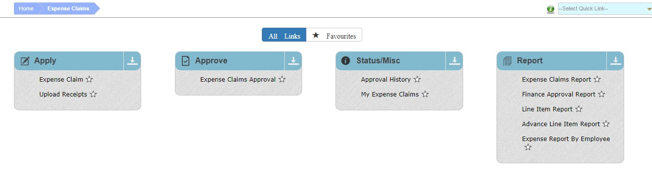 Expense Reporting Software Menu